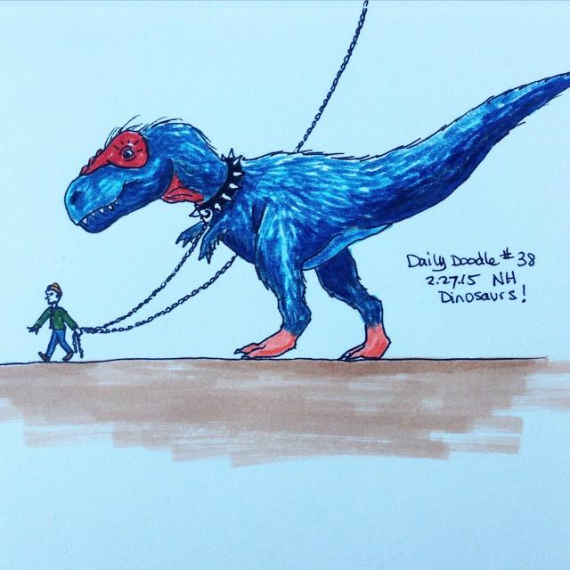 No.38 Dinosaurs! #dailydoodle #doodle #dinosaur #trex #tyrannosaurus