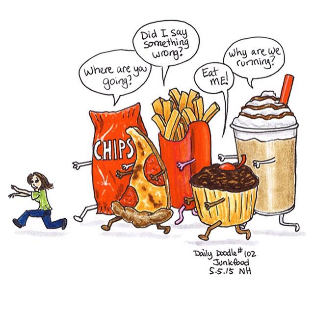 No.102 Junkfood #dailydoodle #doodle #sketch #drawing #art #junkfood #junk #food #willpower #pizza #fries #cupcake #chips #shake