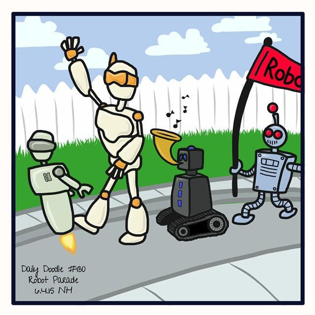 No.130 Robot Parade patreon.com/creation?hid=2614113 #dailydoodle #doodle #sketch #drawing #artwork #robots #parade #robotparade #cute #cartoon
